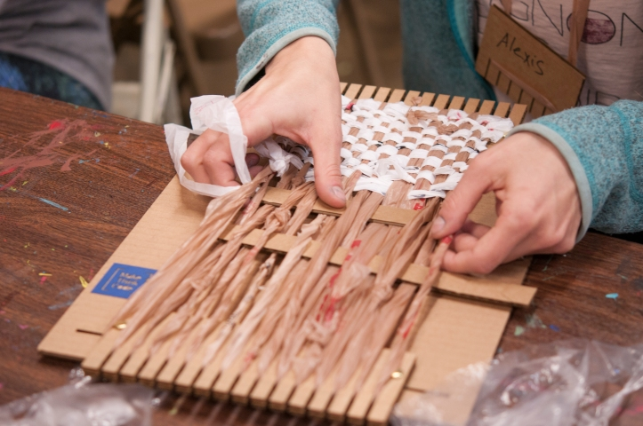 image of weaving during Plarn Lab event