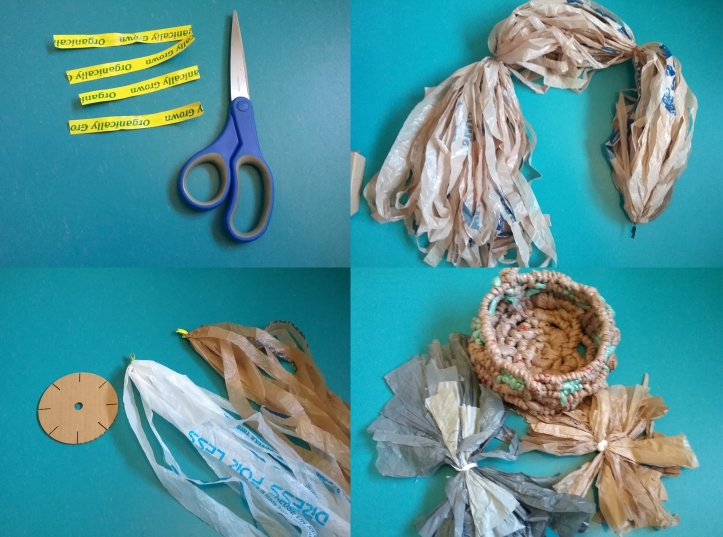 image of many uses for recycled produce tie as twist ties